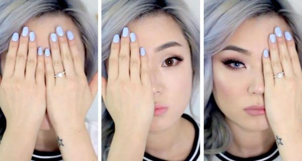 Из азиатки сделали европейку макияж